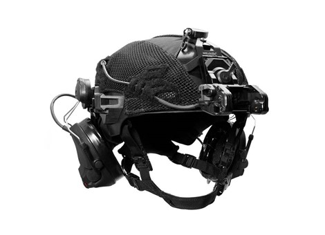 EXFIL Helmet Cover Accessory Cables Routed Angle
